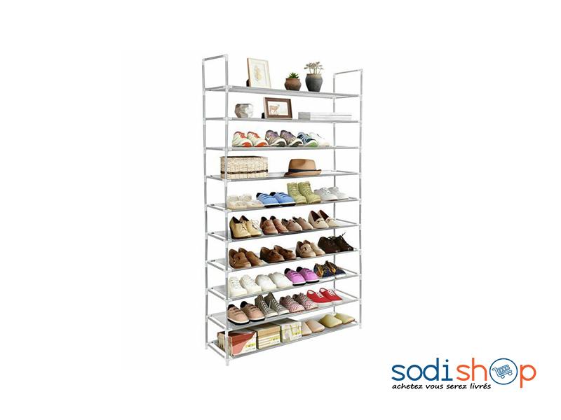 Etagere A 10 Rangees Meuble De Rangement Pour Chaussures Et Accessoires Ak0028 Sodishop