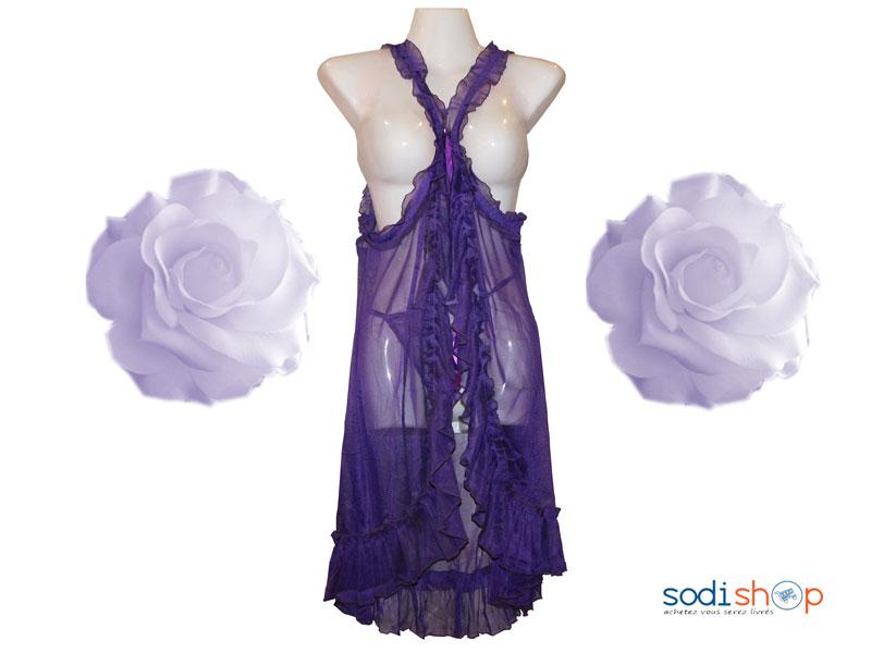 906be21bf Nuisette Robe de Nuit à Tuile Deux Pièces Couleur Violette