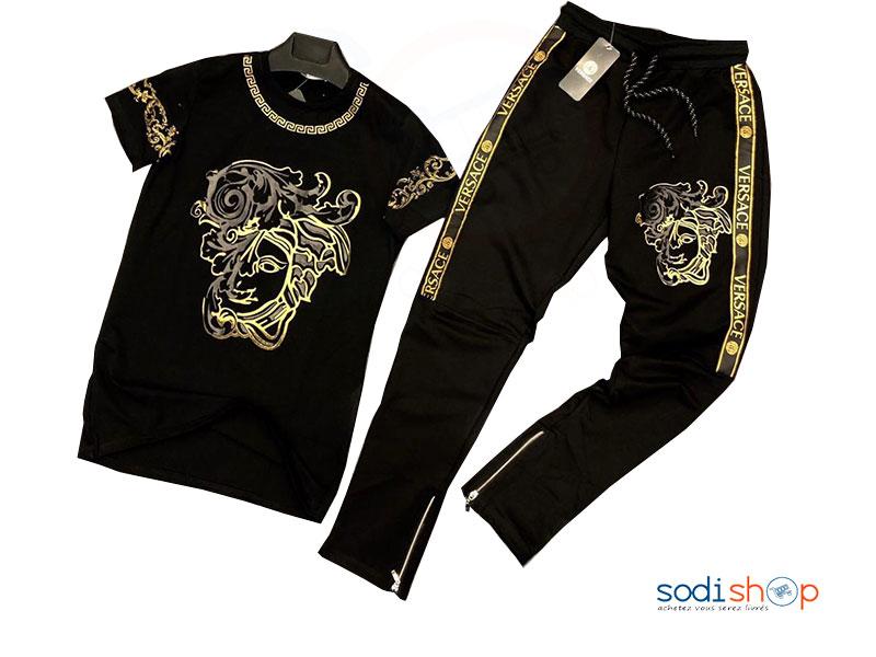 vif et grand en style brillance des couleurs dernière mode Ensemble Tee-shirt Pantalon VERSACE Couleur Noir BO0019