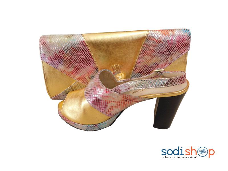 60% pas cher remise chaude les clients d'abord Ensemble Accessoire Pour Femme Pochette + Chaussure Dorée SC0067