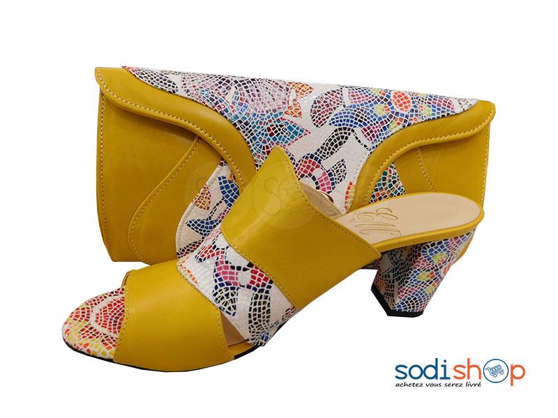 plus près de vendu dans le monde entier prix bas Accessoire Ensemble Pour Femme Pochette + Chaussure SC0067 Jaune