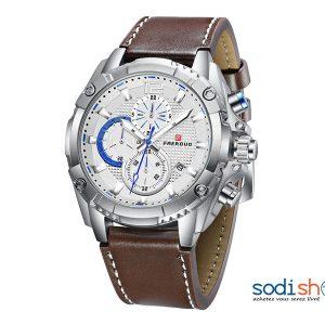 f0f6945d87410 FAERDUO Montre de luxe F8213 en cuir pour homme d'affaires avec date –  Couleur Marron/Argent – SODI00