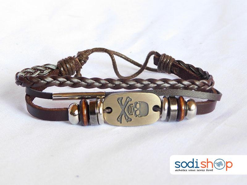 plus de photos style de mode faire les courses pour Bracelet Pirate Tressé, Class et Elégant, en Cuir Haute Qualité, Pour Homme  et Femme - Taille Ajustable, Couleur Marron SODI00