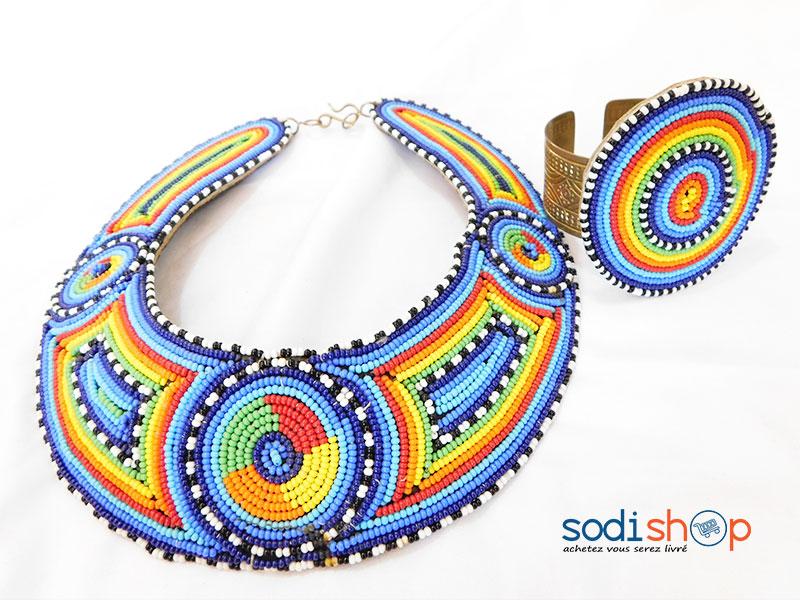 new high quality sale online 100% high quality Collier Artisanal + Bracelet en Perle, Style Africain, Sublime Design Pour  Femme - Multicolore MT0077