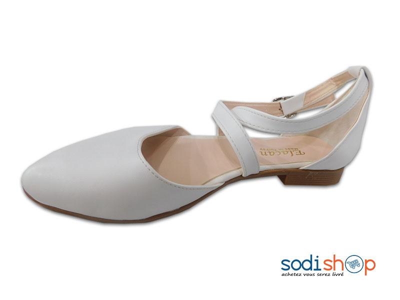 bébé les dernières nouveautés choisir officiel Ballerine Marque Elacan, Chaussure Blanche Pour Fille DD0074