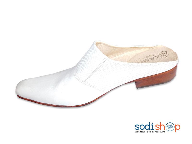 super populaire 31150 4c1c7 Babouche Confortable, Chaussure Blanche Haute Qualité - Pour Homme MS0076