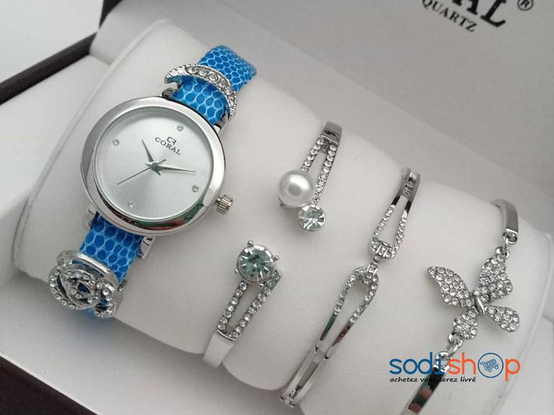 Montre Coral à Quartz Swiss avec Bracelets Perlés Style Moderne Couleur Bleu Argent Pour Femme SODI00