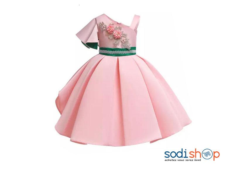 Robe Evasee Motif Floral Classe Et Confortable Couleur Rose Pour Fille Eb001 Sodishop