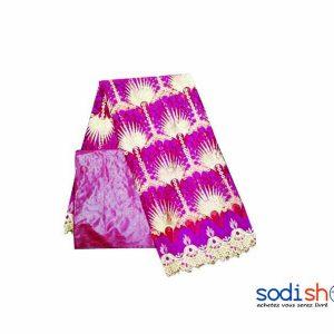 Brodé Dipure + Bazin Getzner Tissu en Coton - Couleur Rouge 3 et 1 Mètres DD00132 Sodishop Mali Achat Vente