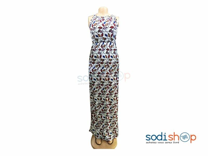 Robe Longue Sans Manches Couleur Blanc Habit Pour Femme Mks00133 Sodishop